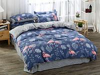 Комплект хлопкового постельного белья Фламинго (двуспальный-евро)