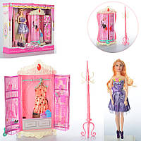 Мебель 589-8 (18шт) гардеробная, платья, кукла-шарнирная, 31см, аксесс, в кор-ке, 42-37-10см