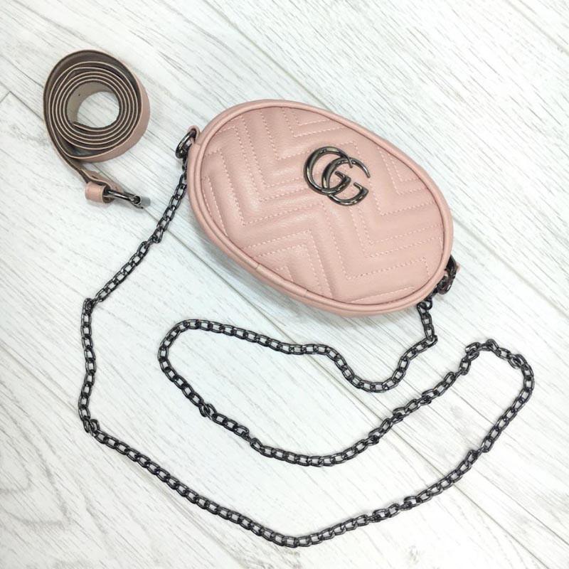 Женская бананка, поясная сумка гучи, Gucci кроссбоди Розовая, пудра, фото 1