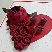 """Открытка З Днем влюбленных """"Красные цветы"""", фото 1"""