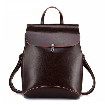 Рюкзак сумка (трансформер) міський жіночий шкіряний (коричневий)