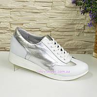 f8e1dfc53 Туфли-кроссовки кожаные женские на утолщенной подошве, серебро/белый цвет