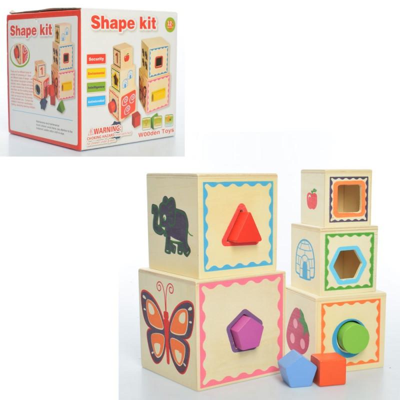 """Деревянная игрушка """"Shape kid"""", куб, пирамида, сортер, MD2026"""