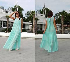 """Длинное шифоновое платье-двойка """"Амели"""" без рукавов (большие размеры), фото 2"""