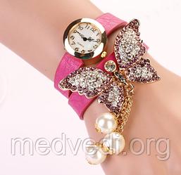 Женские часы с бабочкой, розовые со стразами