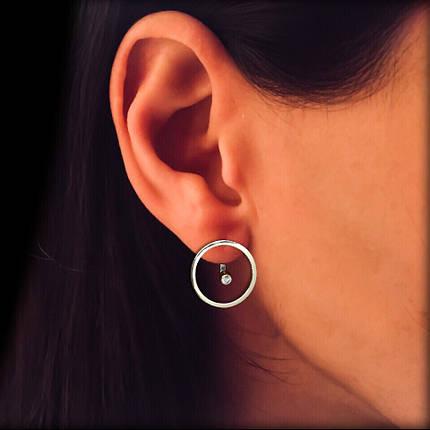 Серебряные серьги-пуссеты с фианитом, фото 2
