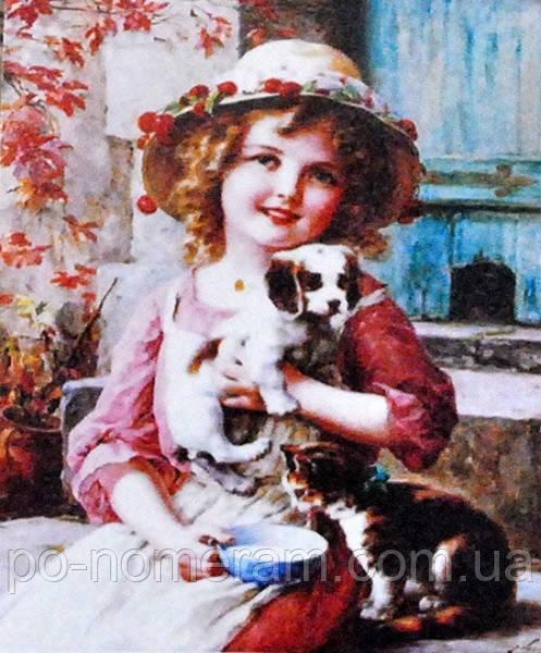 Алмазная вышивка девочка с собачкой