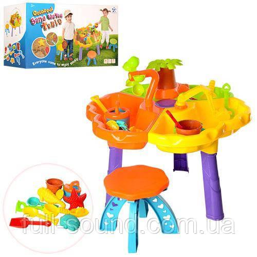 Столик песочница со стульчиком для игр с песком и водой  9808-1