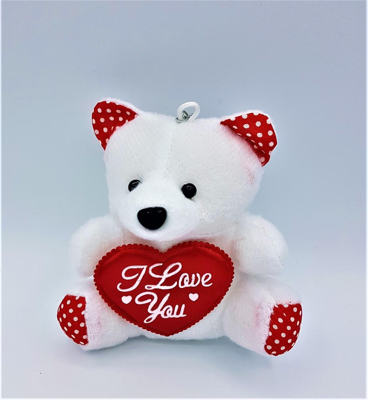 Игрушка для букетов 20 штук Белый Мишка с сердцем