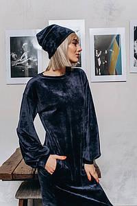 """Велюровая женская шапка-чулок """"VELUR"""" (3 цвета)"""