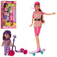 Набор кукол семья - кукла типа барби со скейтом и дочка с самокатом,серия кукол Дефа (Defa), 8349