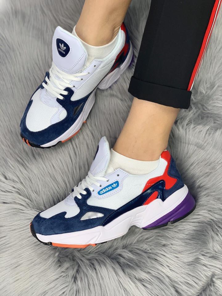 dcee1049 Женские кроссовки Adidas Falcon blue red purple (в стиле Адидас) белые с разноцветными  вставками