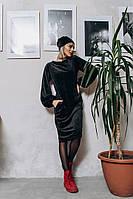 """Велюровое миди-платье свободного кроя """"VELUR"""" с шапкой в комплекте (2 цвета)"""