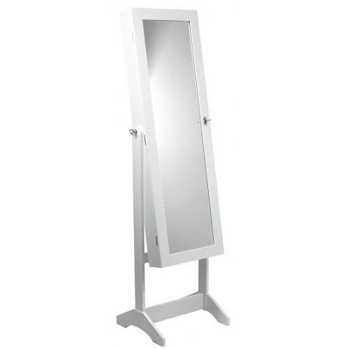 Зеркало напольное с шкафом для бижутерии, 41,5х36,5х147 см, белый