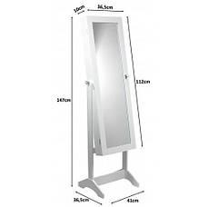Зеркало напольное с шкафом для бижутерии, 41,5х36,5х147 см, белый, фото 3