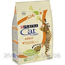 Cat Chow (Кет Чау) Сухий корм для кішок курка і індичка, 15 кг