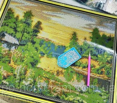 Круглая алмазная мозаика на подрамнике Бриллиантовые ручки