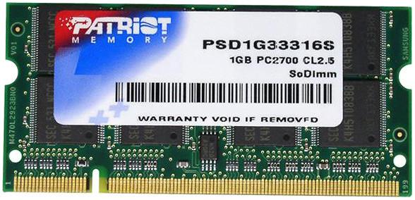 "Память PATRIOT 1 GB DDR 333 MHz SO-DIMM (PSD1G33316S) ""Over-Stock"" Б/У"