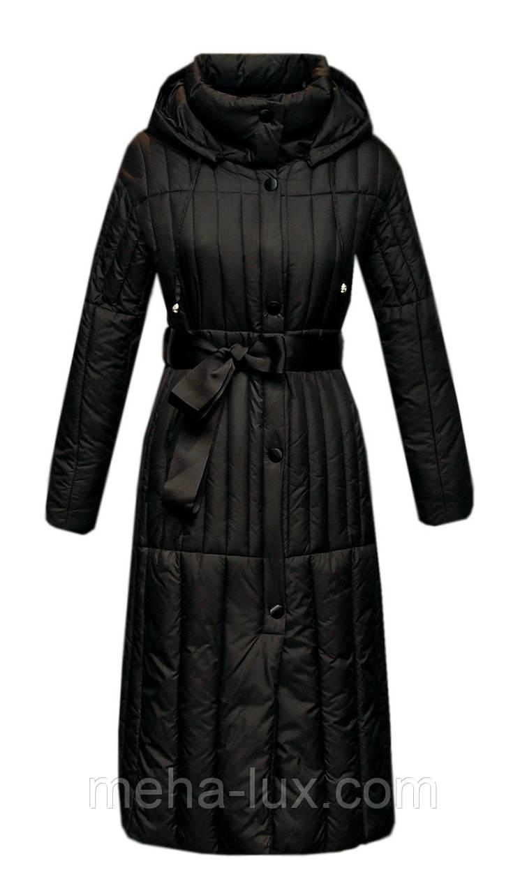Пуховик Boruoss женский приталенный удлиненный черный