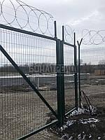 Ворота распашные  РУБЕЖ/КОЛЬЧУГА для забора из сетки 1800, 2800, 2000