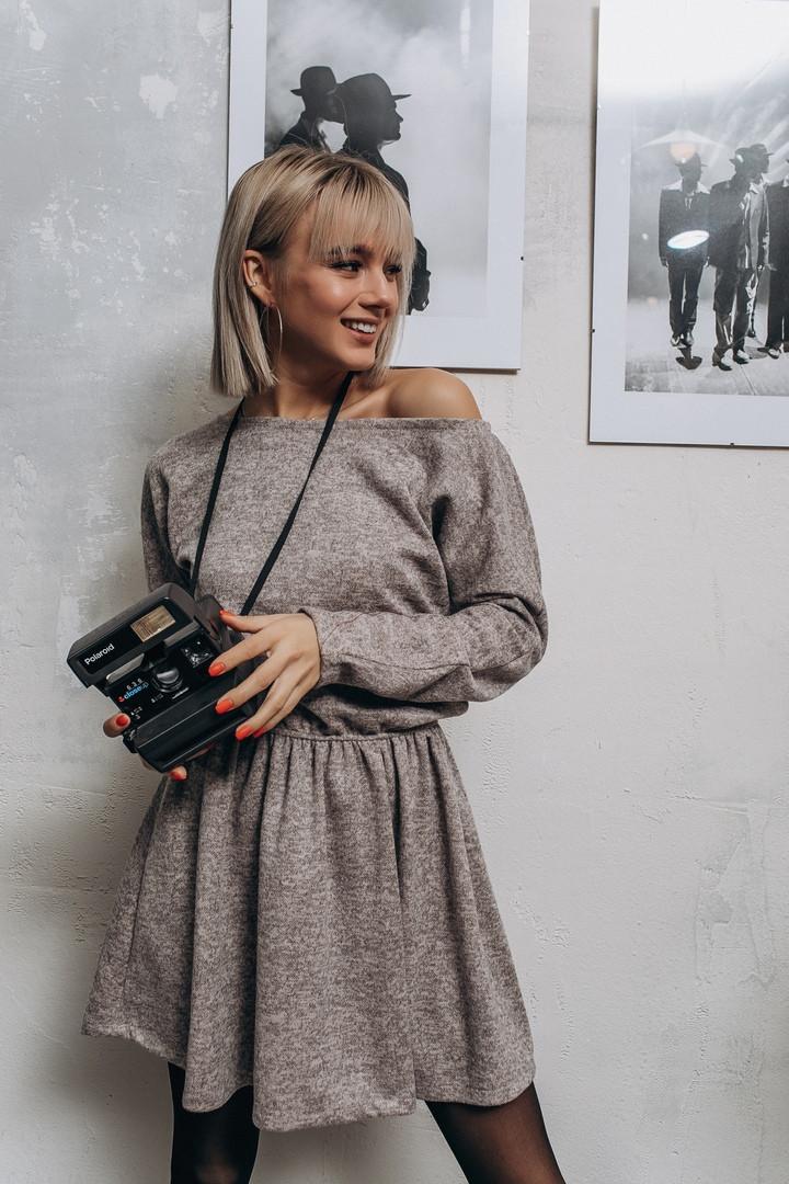 """Приталенное ангоровое мини-платье """"FILA"""" с длинным рукавом (4 цвета)"""