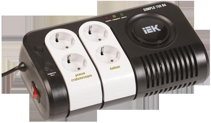 Стабилизатор напряжения Simple 0,75 кВА электронный переносной, IEK