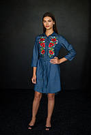 Платье вышиванка (длинная рубашка в цвете джинс), арт. 4502