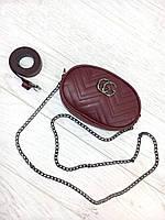 Женская бананка, поясная сумка гучи, Gucci кроссбоди Бордовая, фото 1