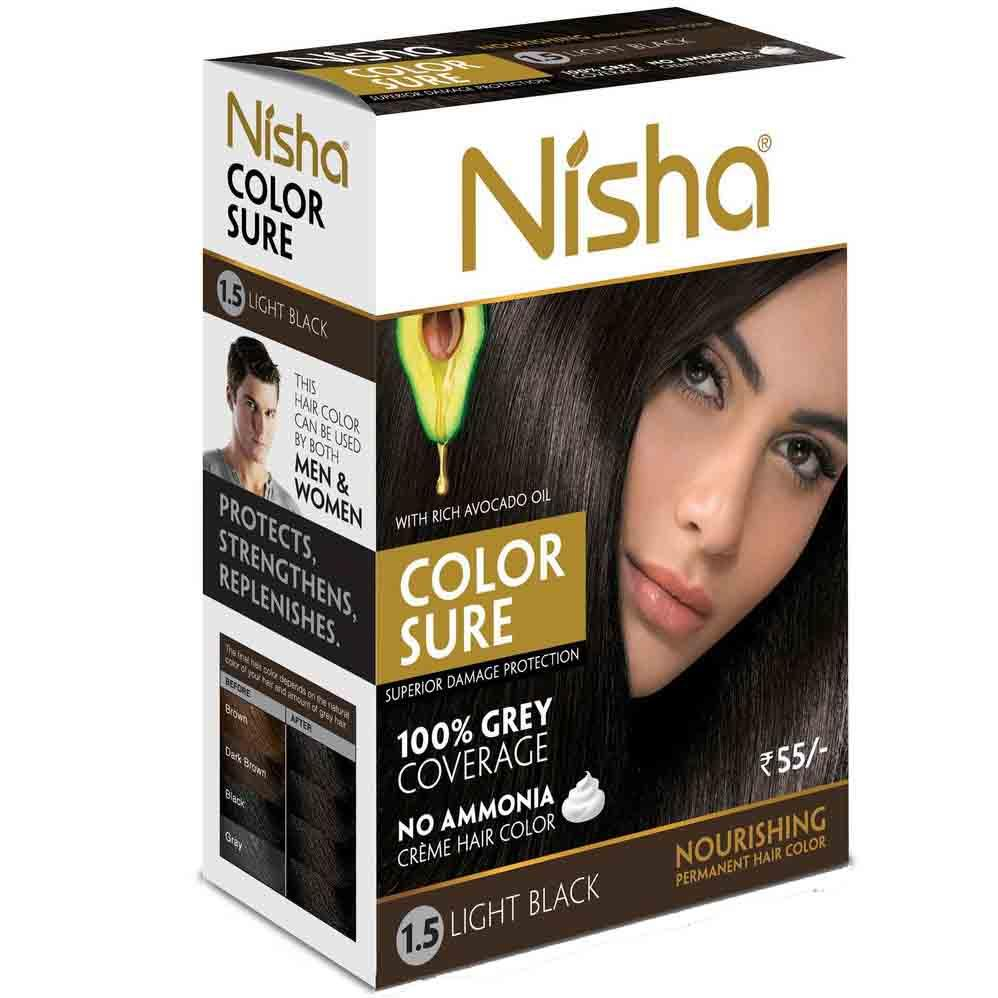 Nisha №1,5. Безаммиачная краска для волос светло-черная, 40 мл