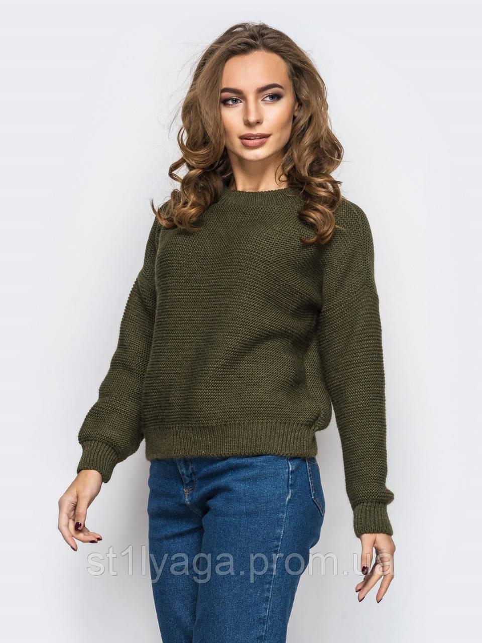 S-L Стильний укорочений светр з гумкою по низу виробу і рукавів
