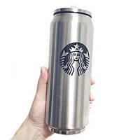 Брендированная термокружка Starbucks Coffee 350 мл термос с клапаном трубочкой в стиле баночки банки Старбакс