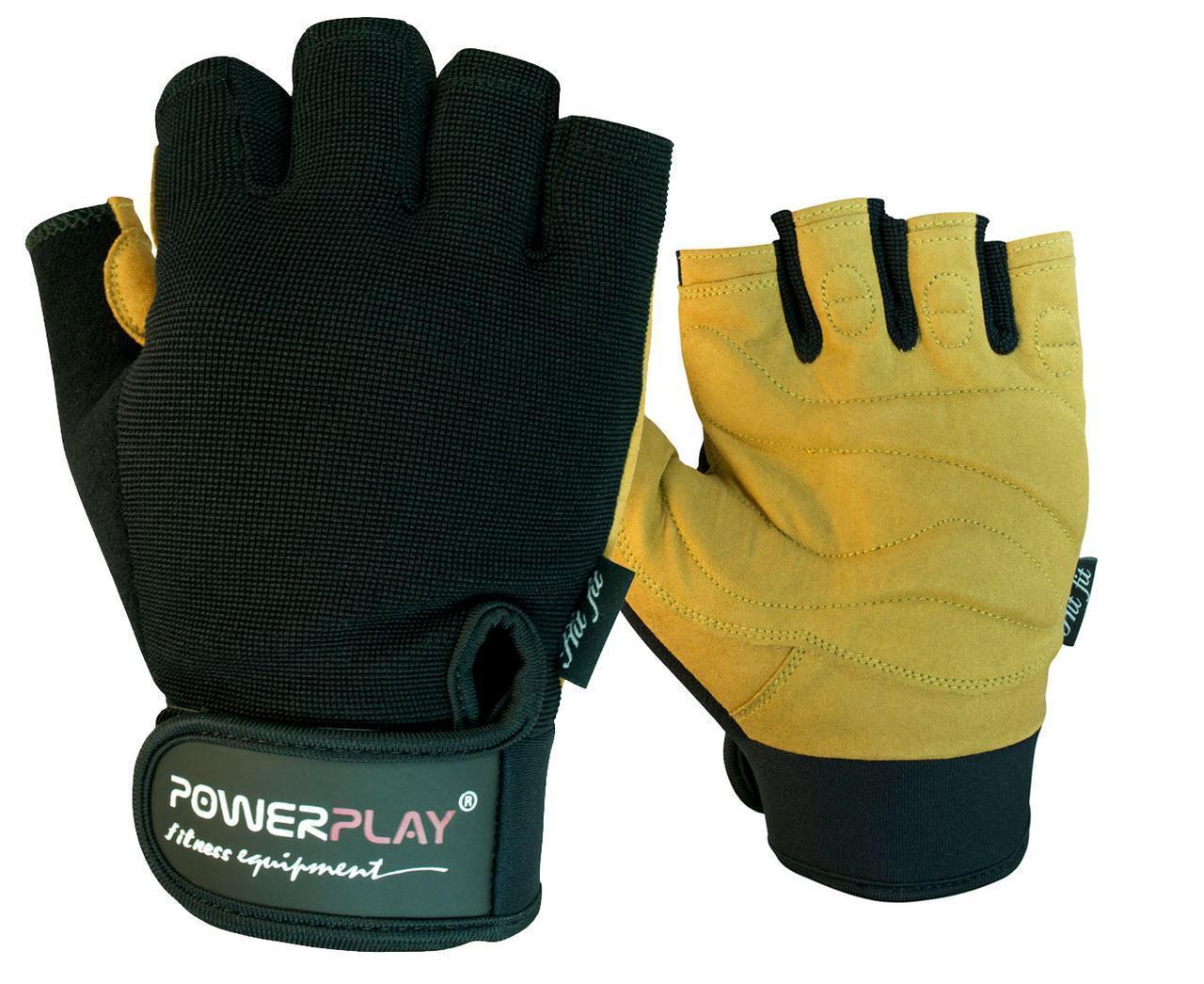 Рукавички для фітнесу PowerPlay 1574 Чорно-Коричневі XL