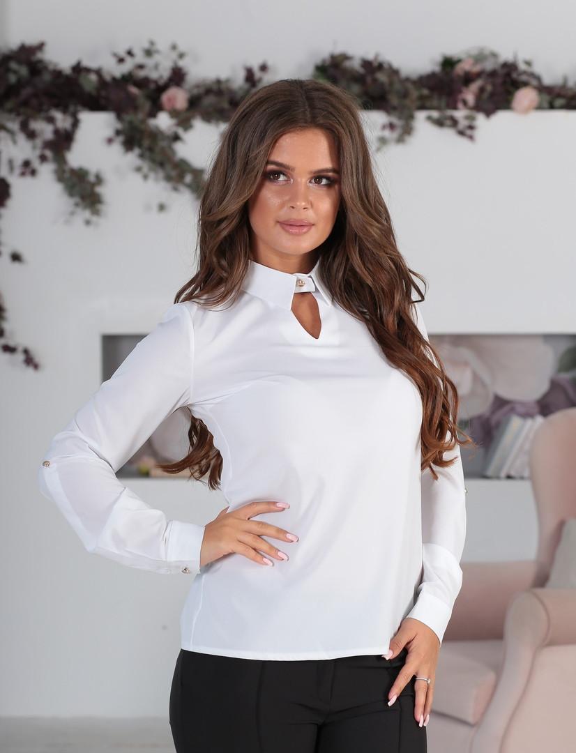 2ffafce3789 Женская блузка с вырезом под горло софт рукав длинный подкатывается в 3 4  размер