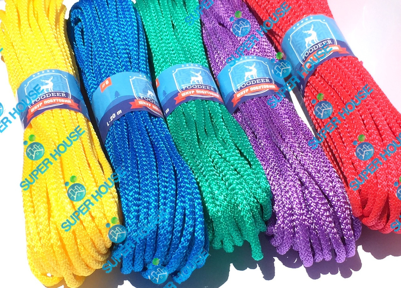 Шнур бытовой полипропиленовый вязаный. Диаметр 6 мм, длинна 20 м, набор из 5 цветов.