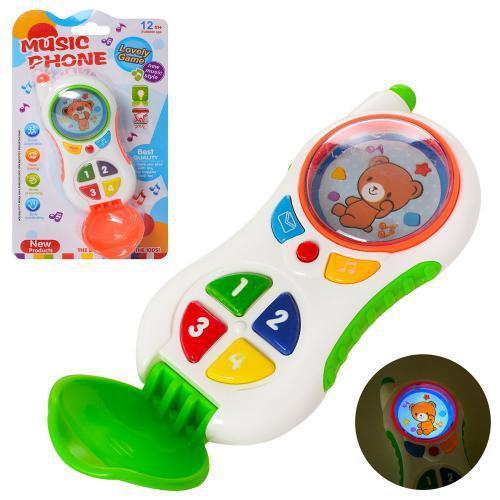 Телефон CY1013-4C 2 кольори, музичний, світло, на батарейки, на листі, 22-13-6 см