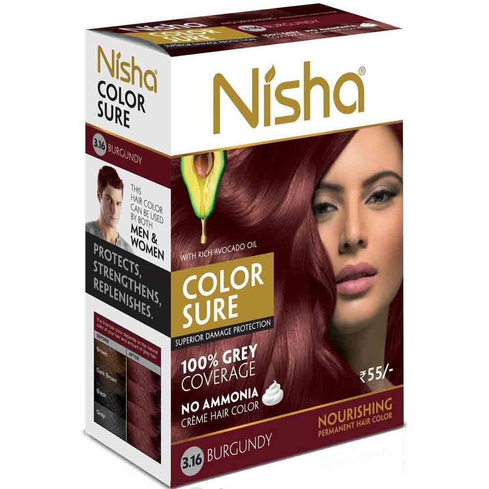 Nisha №3,16. Безаммиачная краска для волос бургунд, 40 мл