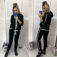 Женский спортивный костюм с капюшоном (зеленый) 8746