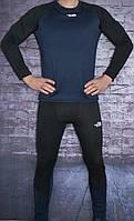 Термокостюм мужской в стиле Columbia, флис, полиестер код товара SDK-2101. Темно-синий с черным