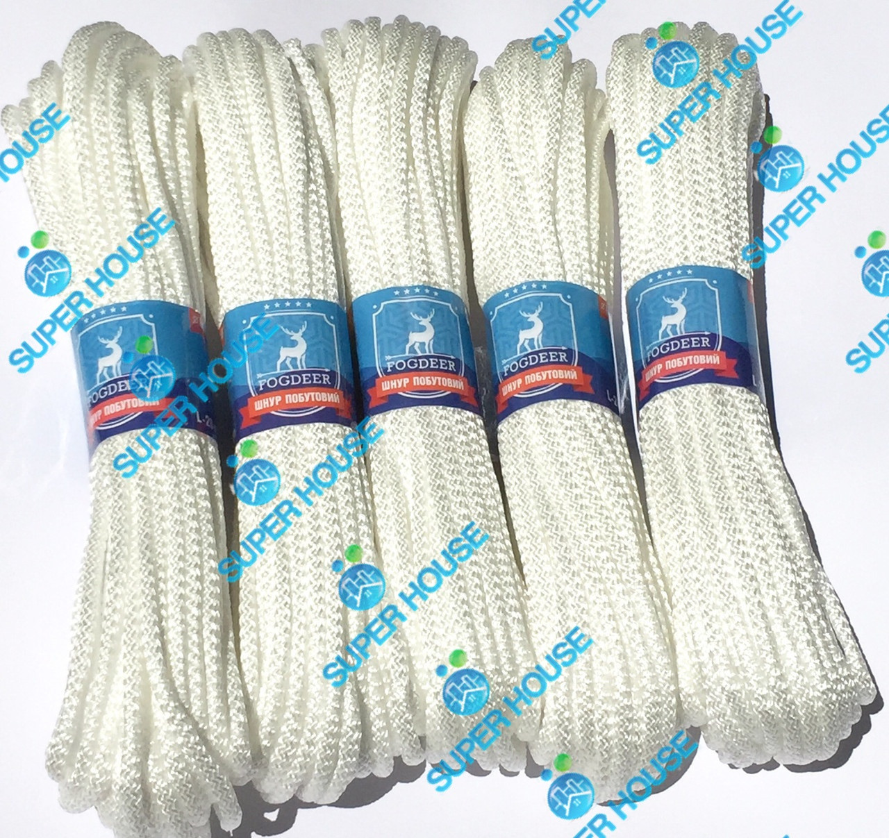 Шнур бытовой полипропиленовый вязаный. Диаметр 6 мм, длинна 20 м, набор из 5 белых.