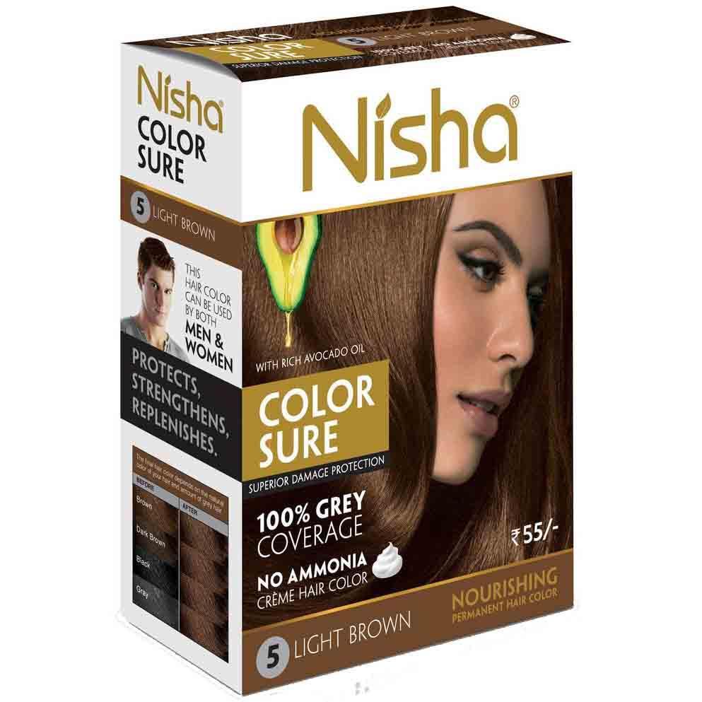 Nisha №5. Безаммиачная краска для волос светло-коричневая, 40 мл