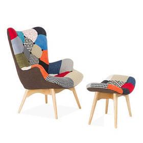 Кресло Флорино с табуреткой Пэчворк (СДМ мебель-ТМ)
