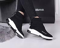 Женские кроссовки черные   Баленсиага текстиль, фото 1