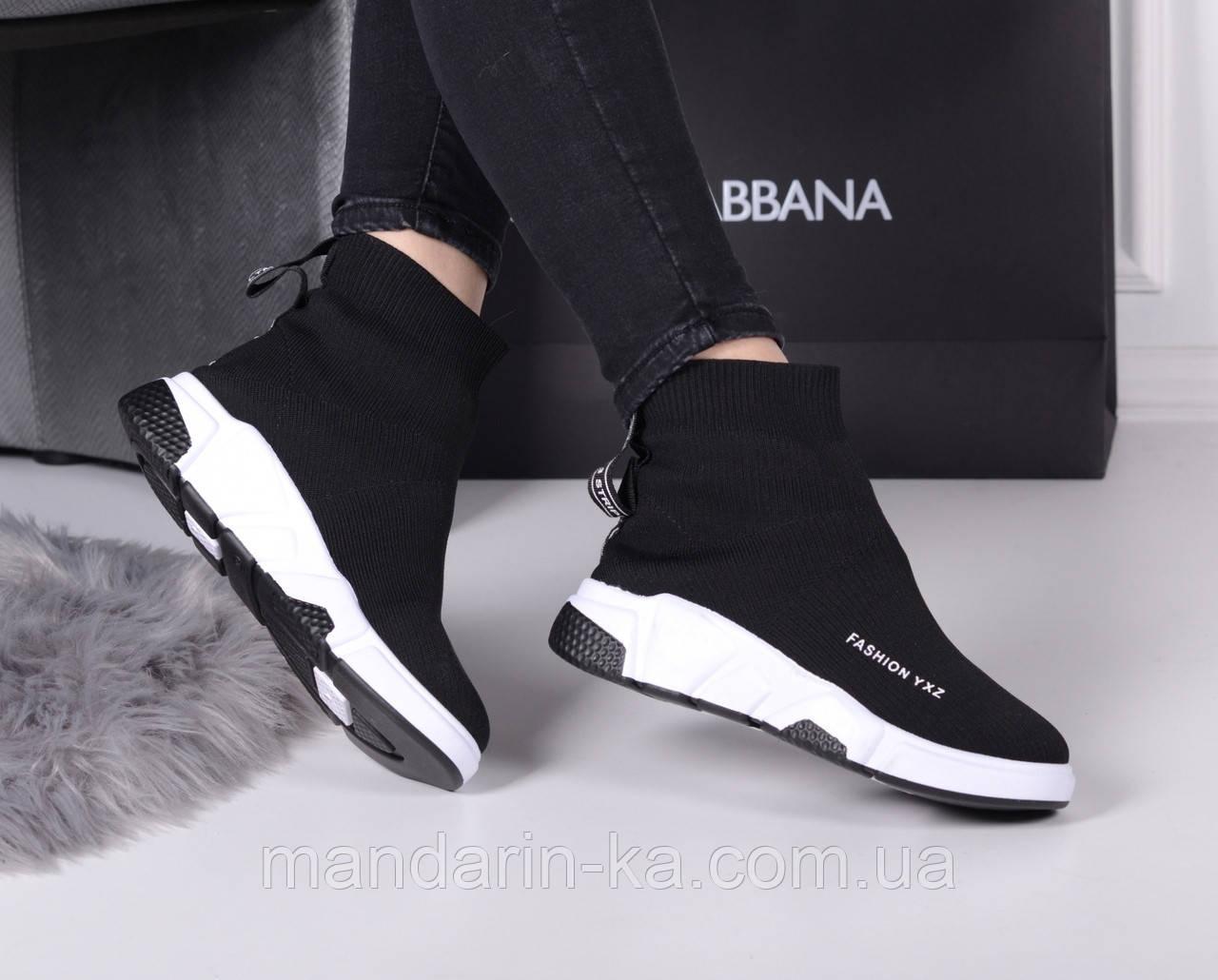 Женские кроссовки черные   Баленсиага текстиль