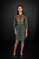 Оливковое платье рубашка с вышивкой, арт. 4503