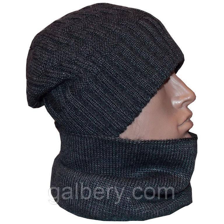Зимняя вязаная шапка и шарф - бафф