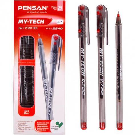 Ручка масляная MY-TECH красная 1 упаковка (25 штук)                        2240K, фото 2