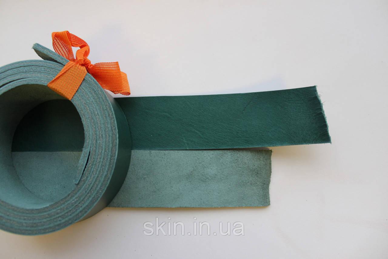 Полосы из кожи растительного дубления с покрытием для ремней зеленого цвета, арт. СКУ 9002.1717