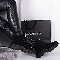 Женские демисезонные   ботинки  черные  натуральная замша, фото 1