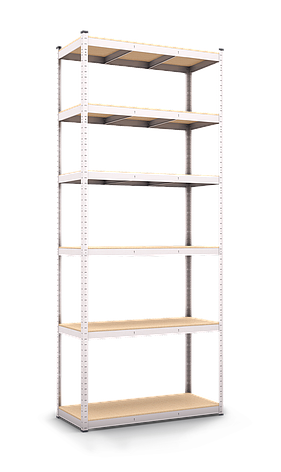 Стеллаж полочный Стандарт, оцинкованный, на зацепах (2800х1000х600), 6 полок, МДФ, 220 кг/полка, фото 2