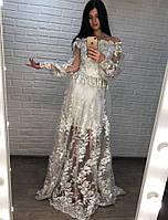 Вечернее платье в пол из сетки с подъюбником